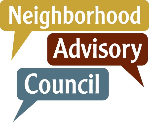 three speech bubbles with the words neighborhood advisory council